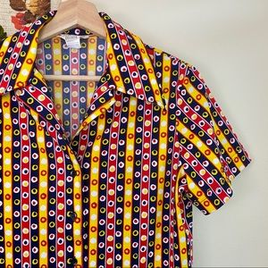 Vintage 70s Yellow Abstract Roller Disco Blouse